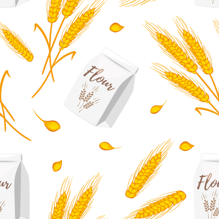Vector cartoon style seamless pattern with wheat cereals Illustration