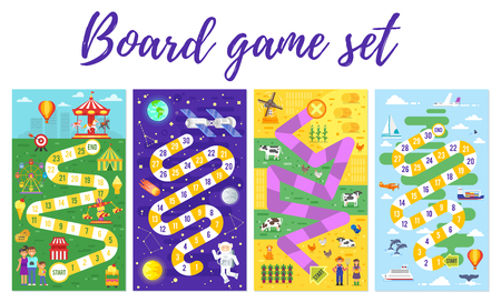 Vector flat style set of kids colorful boardgame template; amusement park, space, farm and travel theme game. For print. Vertical composition. Vettoriali