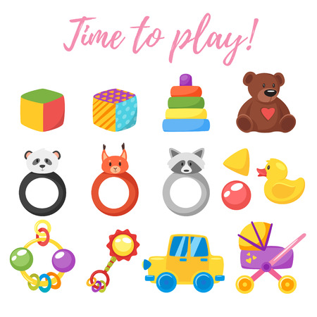 Vector cartoon style illustration of baby set of toys for boy and girl. Newborn design elements and icons. Isolated on white background. Illustration