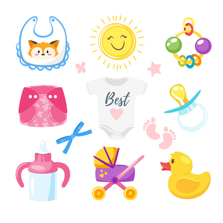 Vector cartoon style illustration of baby shower set of symbols for boy and girl. Newborn design elements and icons. Isolated on white background.