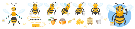 Vector cartoon style bee cute character for animation. Different emotions, hands gestures and beekeeping symbols. Isolated on white background.