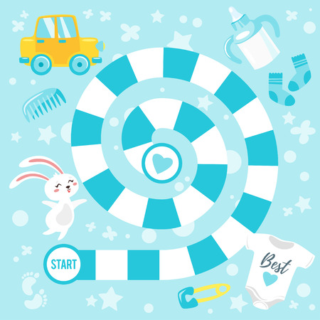 Vector cartoon style illustration of kids baby shower boy board game template with celebration elements. For print. Square composition.