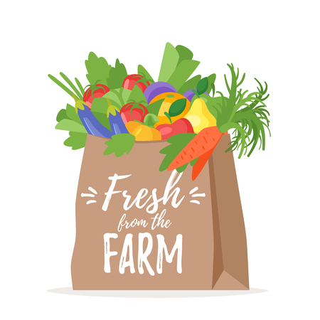 Vector cartoon style illustration of paper bag full of natural organic vegetables and fruits. Fresh from the farm text.