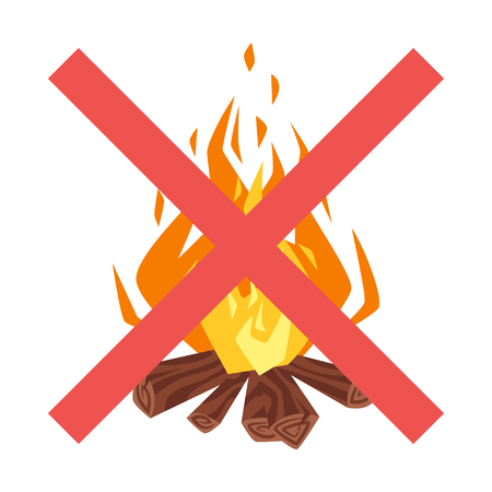 Vector cartoon style illustration of forbidden to build a fire sign. Icon for web. Isolated on white background. Two crossed red lines.