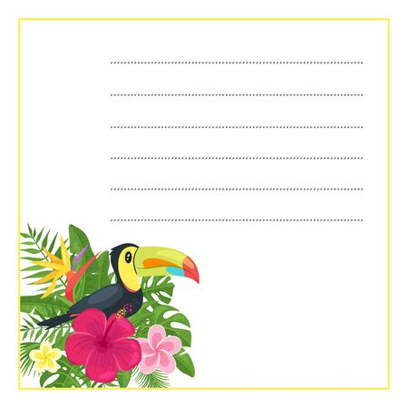 Vector cartoon style template for notebook with decorated element at the corner with palm tropic leaves and Toucan bird.