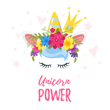 Vector cartoon style illustration of unicorn head with flower wreath, crown and eyelashes. Design for t-shirt or post card. Vibrant color. Illustration