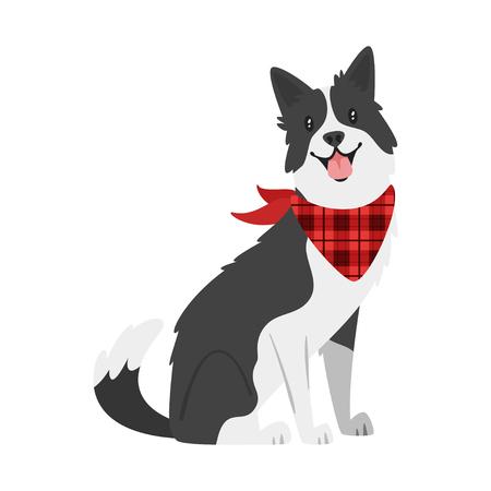 Vector ilustración de estilo de dibujos animados de animales de granja - perro. Aislado sobre fondo blanco