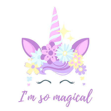 Vector cartoon style illustration of unicorn head with flower wreath and eyelashes. Design for t-shirt or post card. Pastel color.