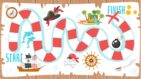 A Vector cartoon style illustration of kids pirate board game template. For print. Vertical composition with journey icons. Wooden background. Standard-Bild - 98715405