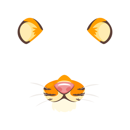 A Vector cartoon style cute tiger animal face element or carnival mask. Decoration item for your selfie photo and video chat filter. Ears, nose and fur.