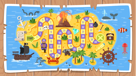 Colored illustration of pirate board game template.