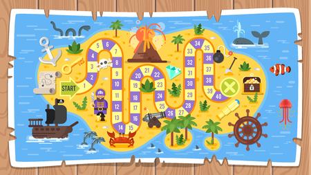 Kolorowa ilustracja szablonu gry planszowej piratów. Ilustracje wektorowe