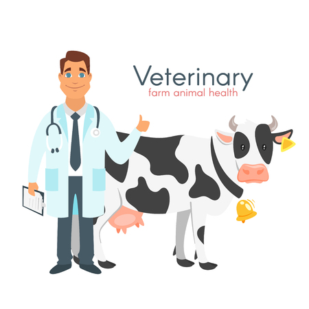 Vector cartoon style illustration of happy veterinarian doctor character with farm animal - cow. Isolated on white background. Stock Illustratie
