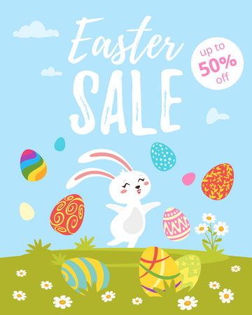 Vector cartoon style illustration of Easter Sale banner with colorful eggs on the meadow and holiday bunny jumping to the air.