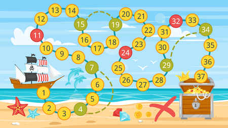 Vector cartoon style illustration of kids pirate board game template. Pirate boat near sea shore. For print. Horizontal composition.