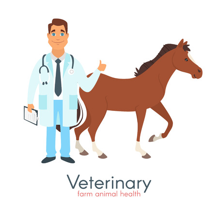 A Vector cartoon style illustration of happy veterinarian doctor character with farm animal - horse. Isolated on white background.