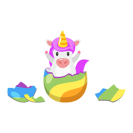 Cartoon style illustration of cute unicorn hatched from rainbow colored egg.