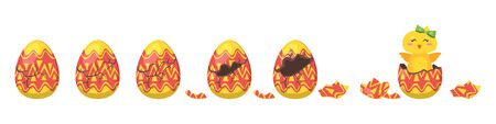 Cartoon style illustration of cracking colorful ornament Easter egg for animation. Иллюстрация