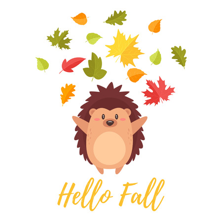 Cartoon vector style illustration of cute hedgehog tossing autumn colorful leaves in the air. Greeting card template for print, hello fall text. Illustration