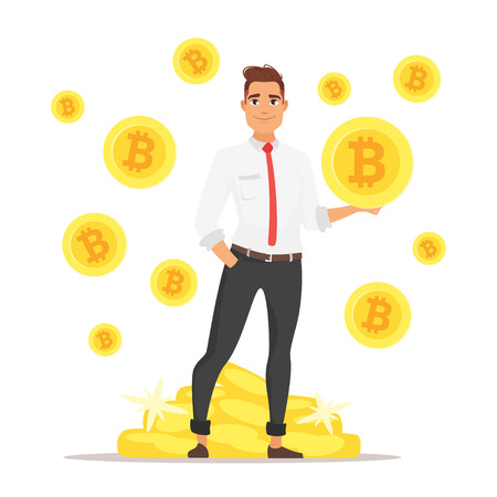 Vector cartoon style illustration of handsome Caucasian businessman holding bitcoin symbols in hand. Pale of coins on the background. Cryptocurrency concept character.