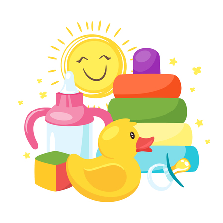 Vector cartoon style illustration of newborn kid toys and elements: yellow rubber duck, baby bottle and sun. Isolated on white background. Vettoriali