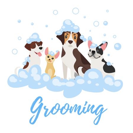 Ilustración de estilo de dibujos animados de vectores de perros de diferentes razas en espuma de jabón. Concepto de aseo