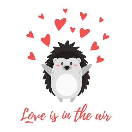 Vector cartoon style illustration of Valentines day romantic gift card with cute hedgehog and red hearts around it. Love is in the air text.