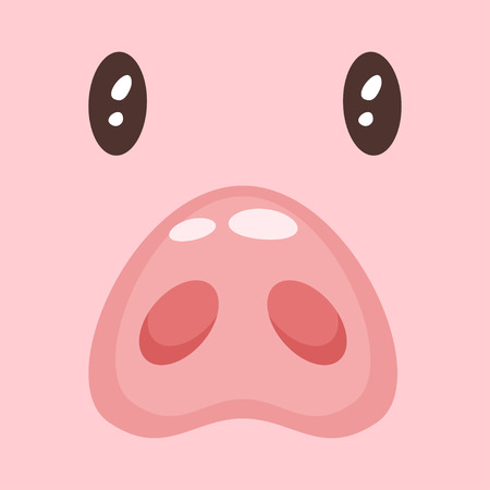 Vector cartoon style illustration of cute pink pig face: nose and eyes.