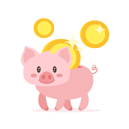 Vector cartoon style illustration of cute pink piggy bank and golden coins. Isolated on white background.