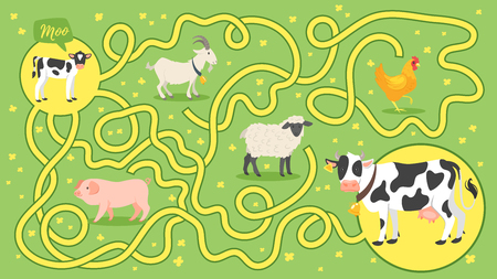 Vector cartoon style illustration of funny maze or labyrinth for children. Help little calf find it's mom.