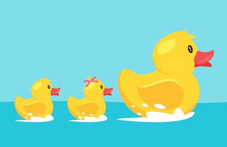 Vector cartoon style illustration of yellow rubber duck with family: duckling son and daughter, floating on the river. Illustration