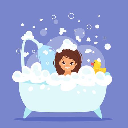 Vector cartoon style illustration of cute kid girl taking a bath full of soap foam. Yellow rubber duck in bathtub. Vectores