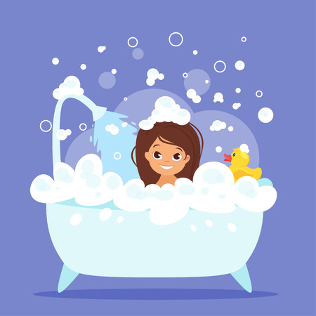 Vector cartoon style illustration of cute kid girl taking a bath full of soap foam. Yellow rubber duck in bathtub. Illustration