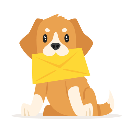 Vector cartoon style illustration of postal dog puppy. Icon for web. Isolated on white background.