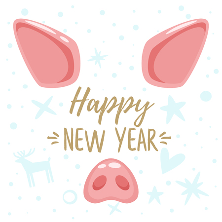 Vector cartoon style 2019 New Year and Christmas greeting card design with cute pig animal face: ears and pink nose. Isolated on white background and holiday icons.