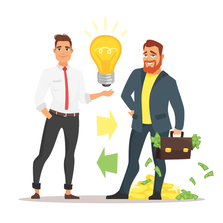 Vector cartoon style illustration of two businessman: investor with suitcase full of money and a businessman offering an idea. Ilustração