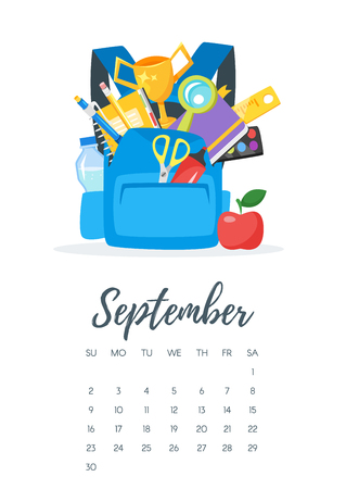 Vector cartoon style illustration of September 2018 year calendar page with blue backpack with school stationary. Template for print.