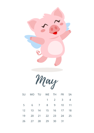 vector cartoon style illustration of may 2019 year calendar page with cute pink pig with wings