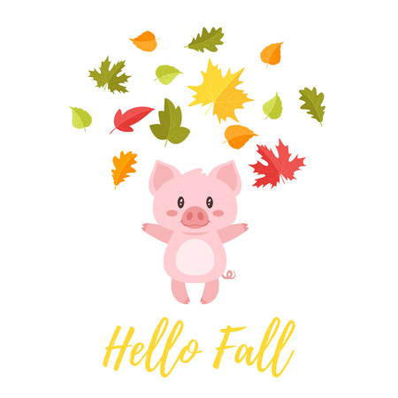 Vector cartoon style illustration of cute pig tossing autumn colorful leaves in the air. Hello Fall text.