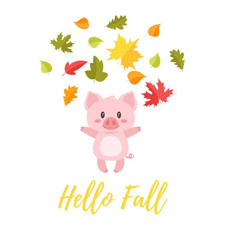 Vector ilustración de estilo de dibujos animados de cerdo lindo lanzando hojas coloridas de otoño en el aire. hola otoño texto Ilustración de vector