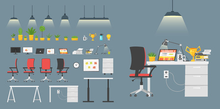 Vector cartoon style set of business workplace elements. Items to build your own office. Isolated on white background. Stock Illustratie