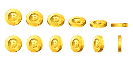 Vector cartoon style illustration of golden coins with bitcoin sign for animation rotation.