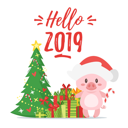 Vector cartoon style illustration of Happy 2019 New year greeting card with cute pink pig holding candy cane. Background with Christmas tree and presents. Illustration