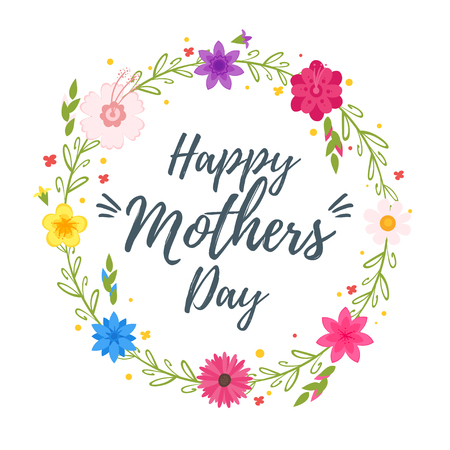 Happy mother's day typography with floral wreath.