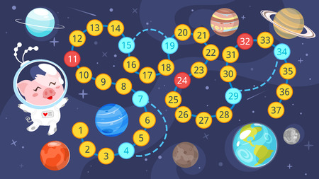 Cartoon style illustration of kids space board game template. Stock Illustratie