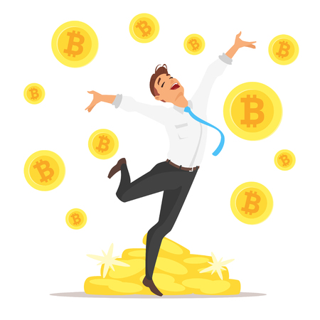 Vector cartoon style illustration of handsome Caucasian businessman jumping with happiness. Pale of bitcoin coins on the background.
