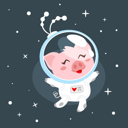Vector cartoon style illustration of pig in space suit. Dark space background.
