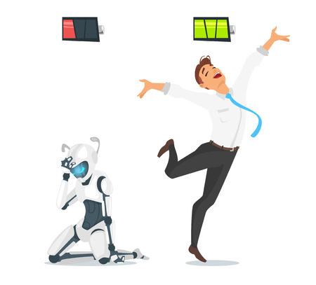 Vector cartoon style concept of human businessman vs robot. Robot has low  battery but human is full of energy. Modern technology concept.