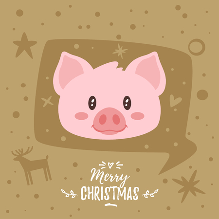 Merry Christmas typography with pig design illustration.