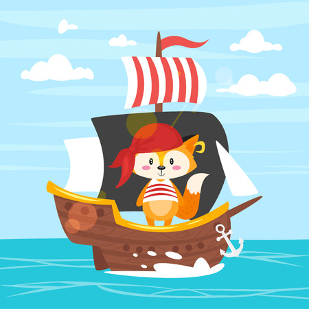 Vector cartoon style fox character in pirate costume on the ship. Sea with clear sky background. Illustration